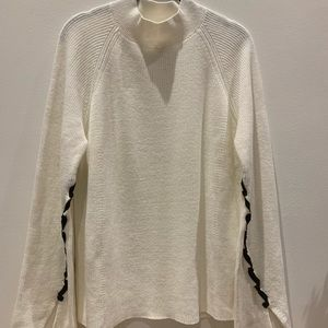 Style & Co Cream Lace Up Sleeve Sweater